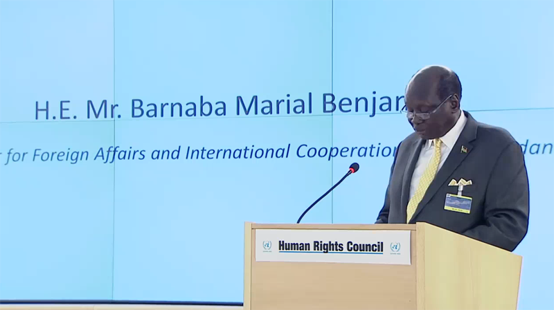 The speech of the Foreign Minister, Marial Benjamine in the Human Right Council